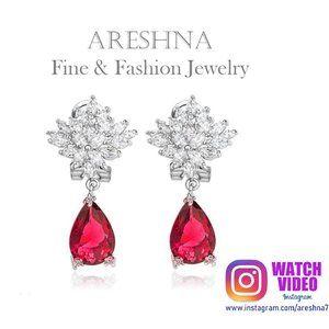 Ruby Swarovski Crystals Waterdrop Earrings